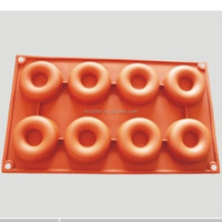 2014 hot sale 8 small donuts silicone mould Factory directly Baking Pan