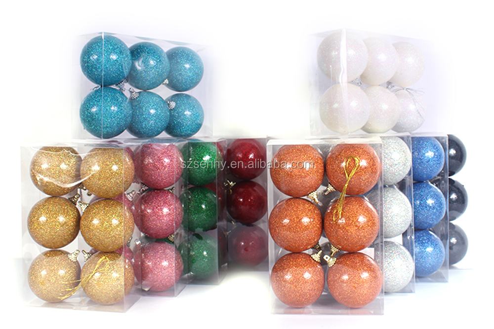 Various blue/white/red/gold plastic christmas ornaments balls