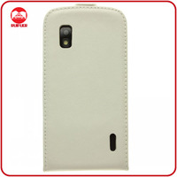 Luxury White Slim Fit 100% Genuine Real Leather Flip Case for Google Nexus 4 Cover