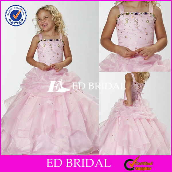 GW0134 One Piece Ball Gown Puffy lace Up Stones Beading Organza Kids Party Wear Dresses