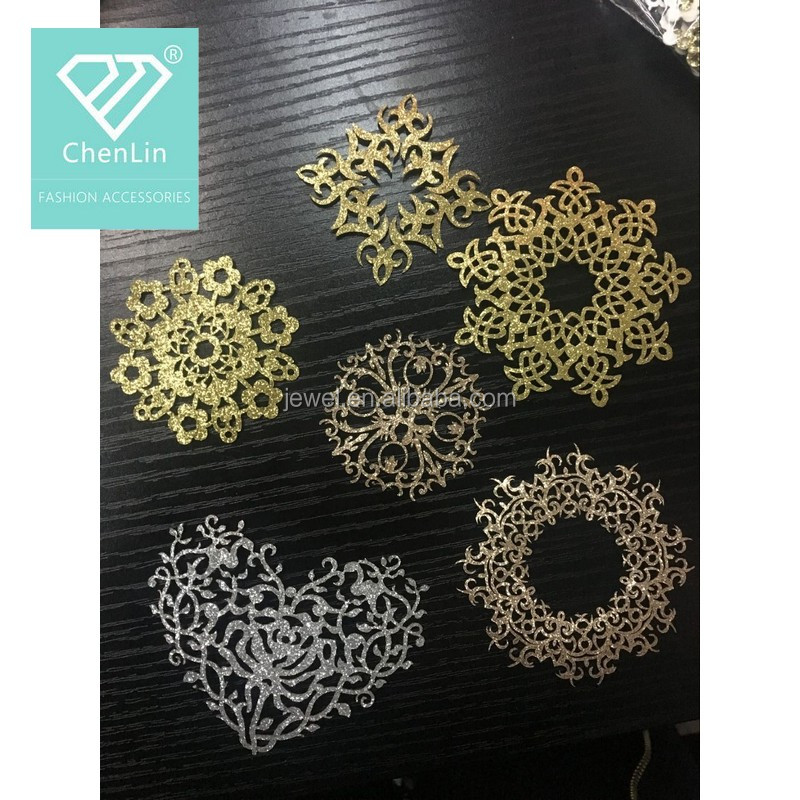 Fashion new design custom heart shape sticky on self-adhesive glitter patch