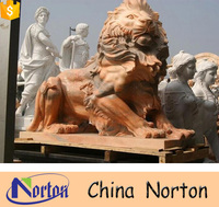 Outdoor antique marble lion small stone animal carving NTBM-L357A