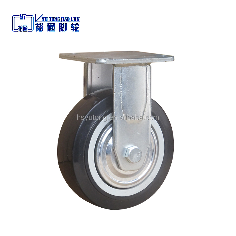 "6"" fixed push cart caster wheel, Industrial plastic core polyurethane caster wheel"