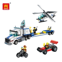 kids police play set diy block brick building toy with high quality