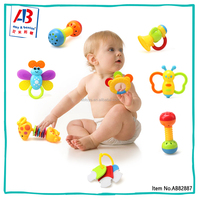 Promotion toys for 6 month olds baby toy rattle dumbbell