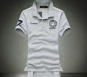 Customized embroidery grey pure cotton polo shirts mens for Work polo shirts embroidered