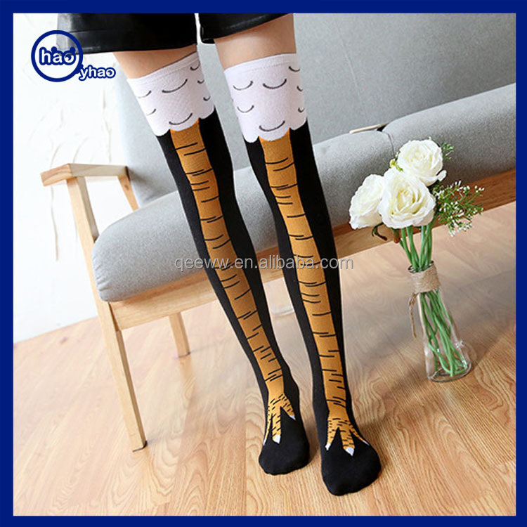 2017 thin tube socks in knee-high chicken feet stockings feet creative stockings thin leg socks