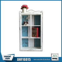 Antique Wooden Wall Cabinet With 5 Openings White Frame