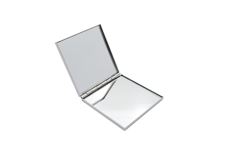 Promotional portable travel metal plain compact mirror+pocket square shaped compact mirror with logo