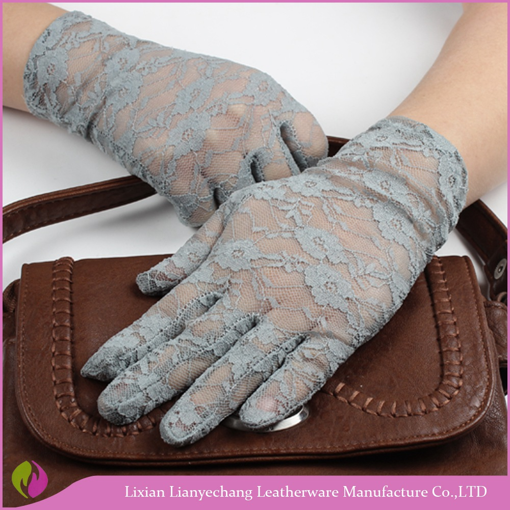 Wholesale high quality blacklace half finger womens dress driving summer gloves sun protection gloves