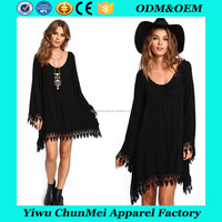 Sexy Women Summer Chiffon Dres Long Sleeve Tassel Lace Patchwork Tunic Hollow Out Beach Mini Dress