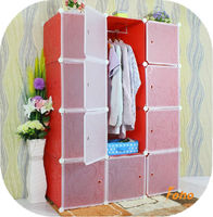 Red pattern hanging clothes Plastic storage cabinet with clothes pole