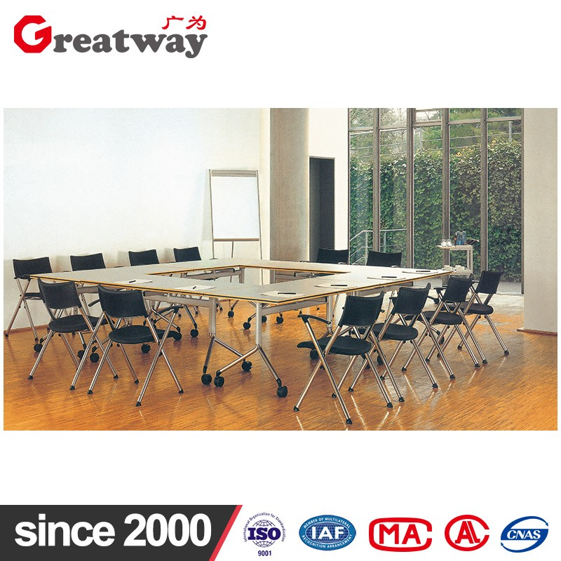Steel and wood structure folding table combination to large conference table