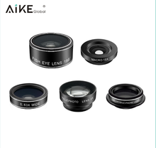 Universal Clip 5 In 1 Kit Ultra Wide Angle Fisheye Macro Cell phone camera Zoom Aukey Amir Lens Kit