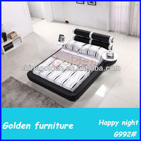 New Elegant Design Modern Genuine Leather Bed for Bedroom