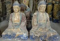 Hand carved wooden religious statues