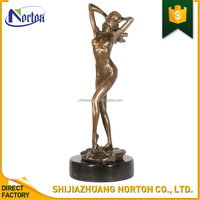 Nude waking women bronze statue on marble pedestal for garden NT--BS238J