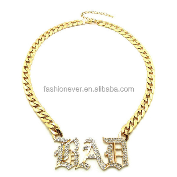 "New Celebrity Style Iced Out 'BAD' Pendant 10mm/16"" Link Chain Necklace"