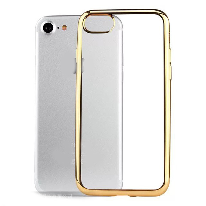 Bulk Buy From China Case Clear TPU Transparent Golden Electroplating Phone Case Capa Para Fundas for iPhone 7 7 Plus 5.5