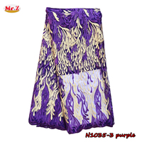 New Arrival Purple Lace Embroidery Fabric With Beads For Festival N1035