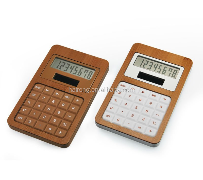 Hairong 8 digit electronic desktop bamboo wooden calculator with solar