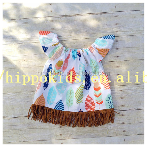New fashion flutter sleeves dress design feather girls summer outfits boho top or dress baby girl dresses