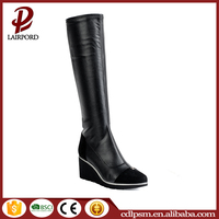 Most popular in America sexy wedge heel design rubber sole pu leather women boots