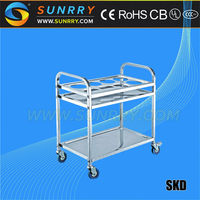 2015 China Square Stainless Steel Hotel Room Tea Service Cart And Cleaning Trolley