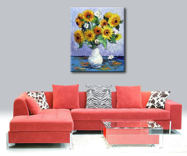 Simple art canvas flower oil painting