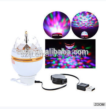 multi color rgb decorative night club and KTV led lamp 3W RGB E27 B22 USB rotating LED Bulb