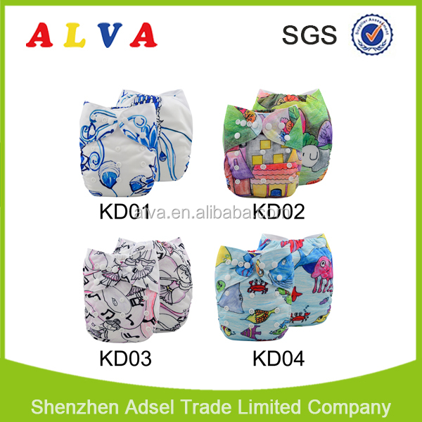 Alva New Series Crayons and Color Pencils Pictures Baby Cloth Diaper Wholesale