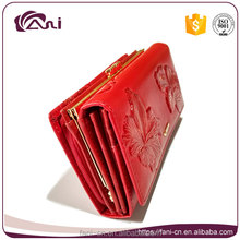 metal clutch frames purse,pu leather red long embossed women wallet