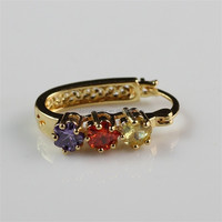 22K Gold Plated Fashion Cheap Colorful Zircon Hoop Earrings for Pretty Girls