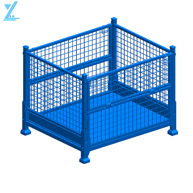 Powder coated foldable and stackable wire mesh steel bulk containers