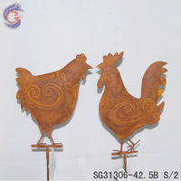 garden decoration metal chickens on stake