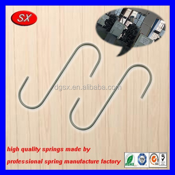Dongguan high quality customized steel S hook clips stainless steel wire form spring