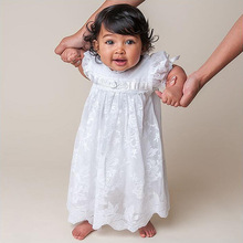BJ1003 Newest design wholesale baby baptism dress white lace Baby Christening Gown