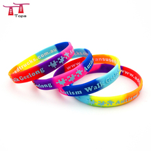 OEM high quality debossed ink filled with different colors silicone wristband