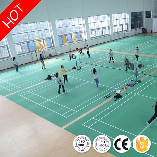 2016 new hot fashion noiseless indoor badminton pvc sports floor covering with ce/iso