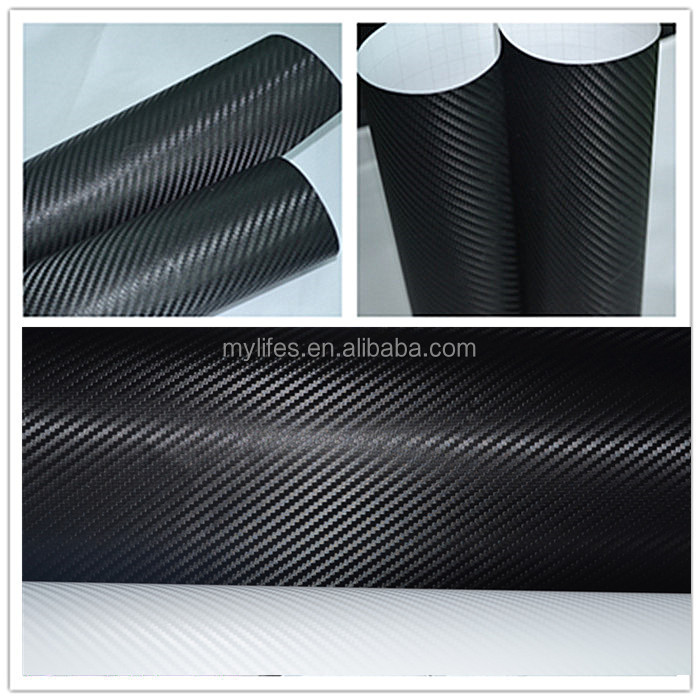 CAR STICKER 1.52x30M 5FTx98FT Removable PVC Texured Vinyl Film Black Adhesive 3D Carbon Fiber