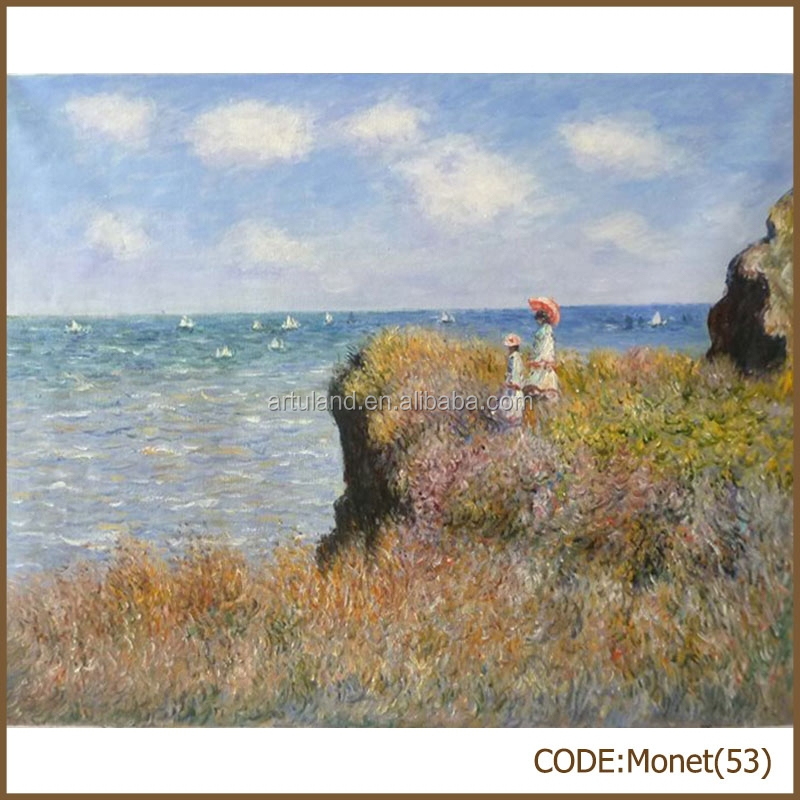 Monet handmade abstract sea view oil painting on linen canvas