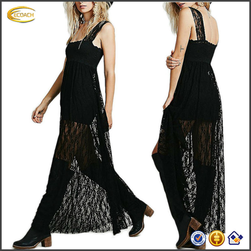 OEM wholesale Fashion Women's Floral Lace Empire Waist high split Maxi Full Length Party sexy girls without dress