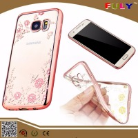 New Luxury Fashion Case Soft TPU Clear Cover with Flower Diamond for Samsung S7 /S7 edge