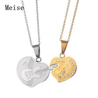 Yiwu Meise silver gold lover pendant engrave guitar necklace for couple