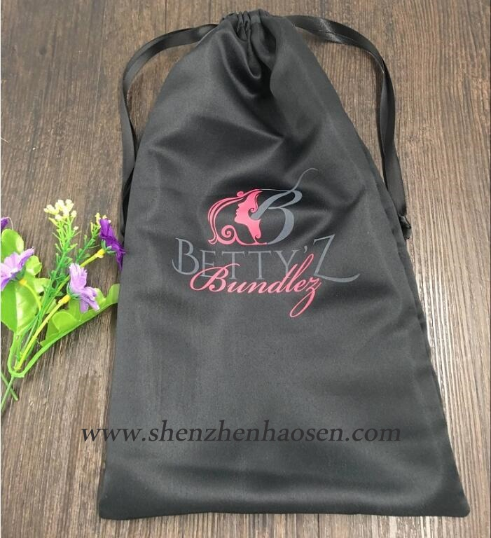 Custom Black Satin Hair Bag With Logo