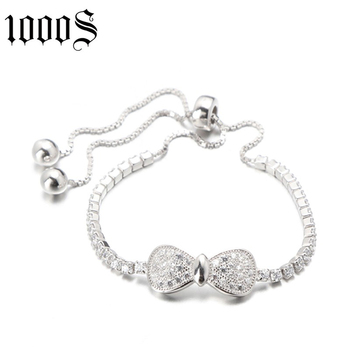 fashion bow shape rhodium plating silver bracelet with size 25cm