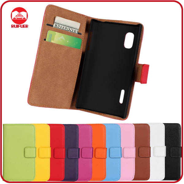 RF Manufacturer Wholesale Folio Wallet Stand Leather Flip Cover Case for LG E610 E612 E615 Optimus L5
