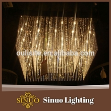 Restaurant decorative yellow led light energy saving contemporary lighting crystal chandelier