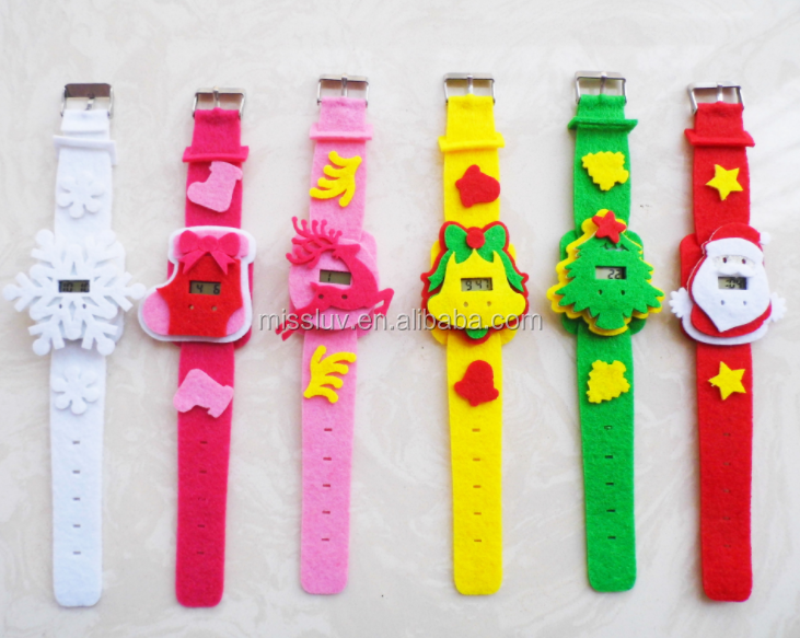 new desig Christmas day felt fabric wrist watch Christmas cartoon electronic wrist watch cheap Christmas festival gifts