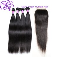 "New Arrival Wholesale High Quality 4""x4"" Lace Closure Virgin Peruvian Human Hair Straight Free/Middle/Three Part"